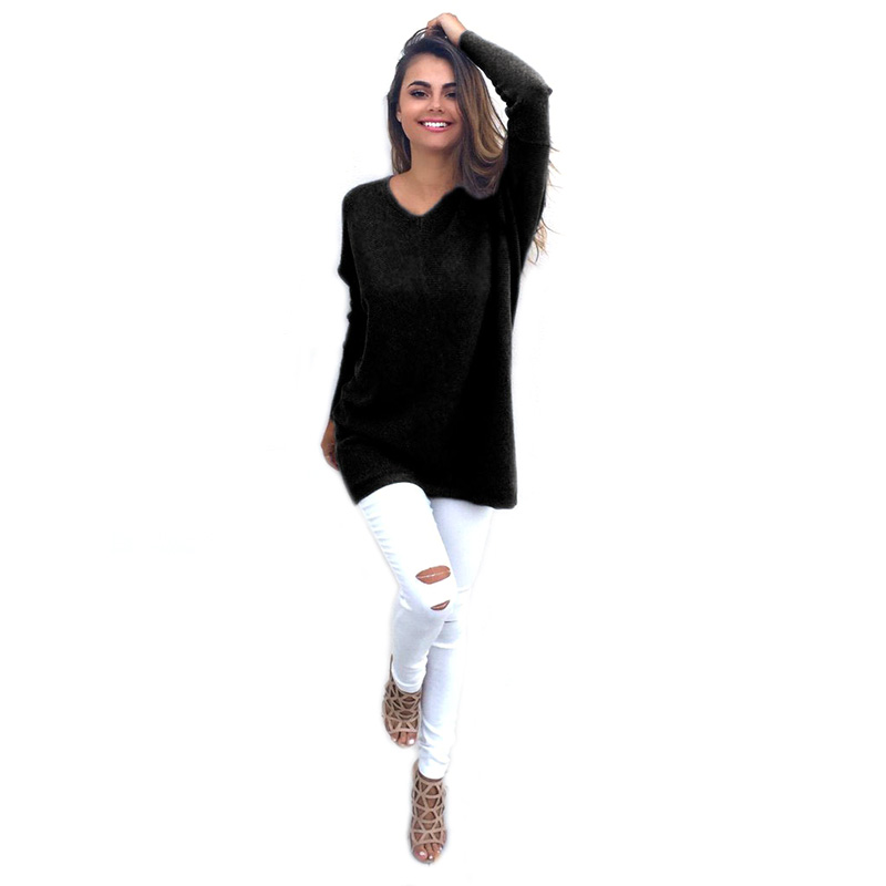 Autumn Fashion Casual Women Long Sleeve Solid Pullovers Hoodies V Neck Sweatshirt Hoodies Long Sweatshirt KH831251