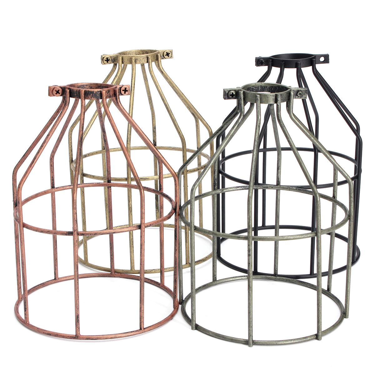 E27 Vintage Steel Bulb Holder Guard Clamp On Metal Lamp Cage Retro Trouble Light Industrial Lamp Covers Lamp Shades Lanterns