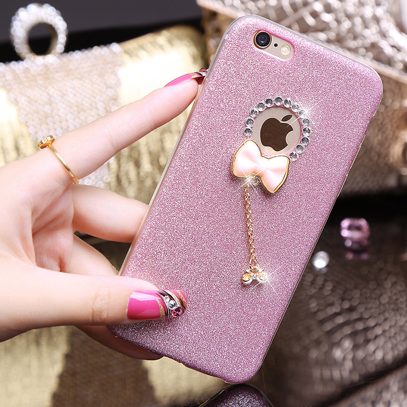 YESPURE Bling Gliter Lovely Bowknot Phone Case Cover Girl for Iphone - Ανταλλακτικά και αξεσουάρ κινητών τηλεφώνων - Φωτογραφία 2