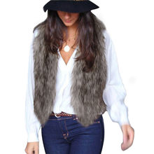 CHAMSGEND Faux Fur Vest High Quality Women Vest Sleeveless Coat Outerwear Long Hair Jacket Waistcoat Fashion Solid Vest No6(China)