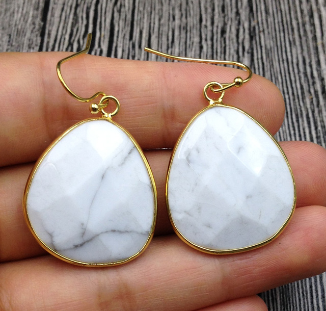 Ya2649 Picture Stone White Marble Turquois Labradorite Faceted Teardrop Hook Earring Gold 28x23mm 40mm Long