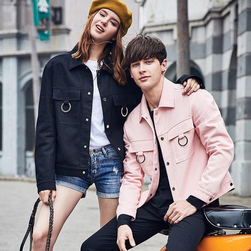 98% algodón Hombre cortavientos 2018 nuevo primavera streetwear casual streetwear un solo pecho turn down collar hombres chaquetas y abrigos - 3