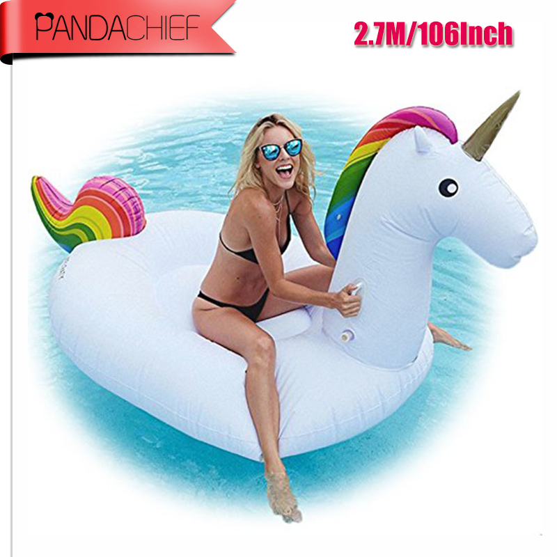 106Inch Gaint Unicorn Inflatable Flamingo Pool Float 1.5M Swan Summer Swimming Ring Flamingo Pool Float Toys for Adults environmentally friendly pvc inflatable shell water floating row of a variety of swimming pearl shell swimming ring