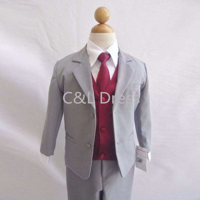 Formal Boy Suit Gray with Burgundy Vest for Toddler Baby Ring Bearer Easter Communion Long Tie Size S, M, L, XL, and More (1)