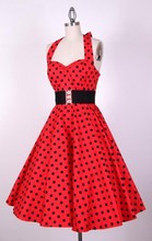 Liquidazione Bestdress Retro Vintage Style 50s Swing Polka Dot halter Pinup Rockabilly Abiti(China)