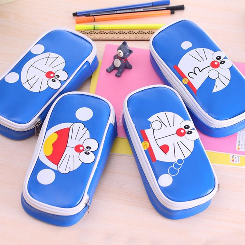 Cute Doraemon Pen Bag Large Capacity PencilcasePU Leather Material Kawaii Pen Case Stationery Office School Supplies