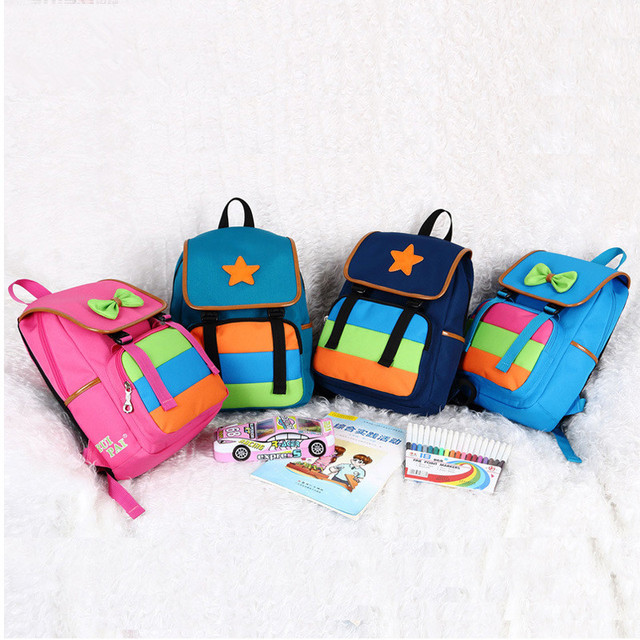 Children's bowknot star school backpack preschool  primary school student's bag,school satchel for girls and boys,zaino scuola