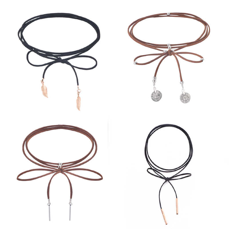 Summer Hot 150cm Black Strap Choker Long Black Leather Rope Collar Necklace New Trendy Woman Jewelry Black/Brown 1PC
