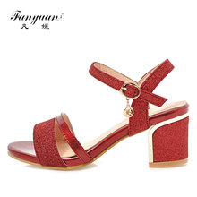 Fanyuan ladies Slingback high heel Sandals 2018 summer Open toes Block heels Bling Gold Silvery women Sandalet Party Dress shoes