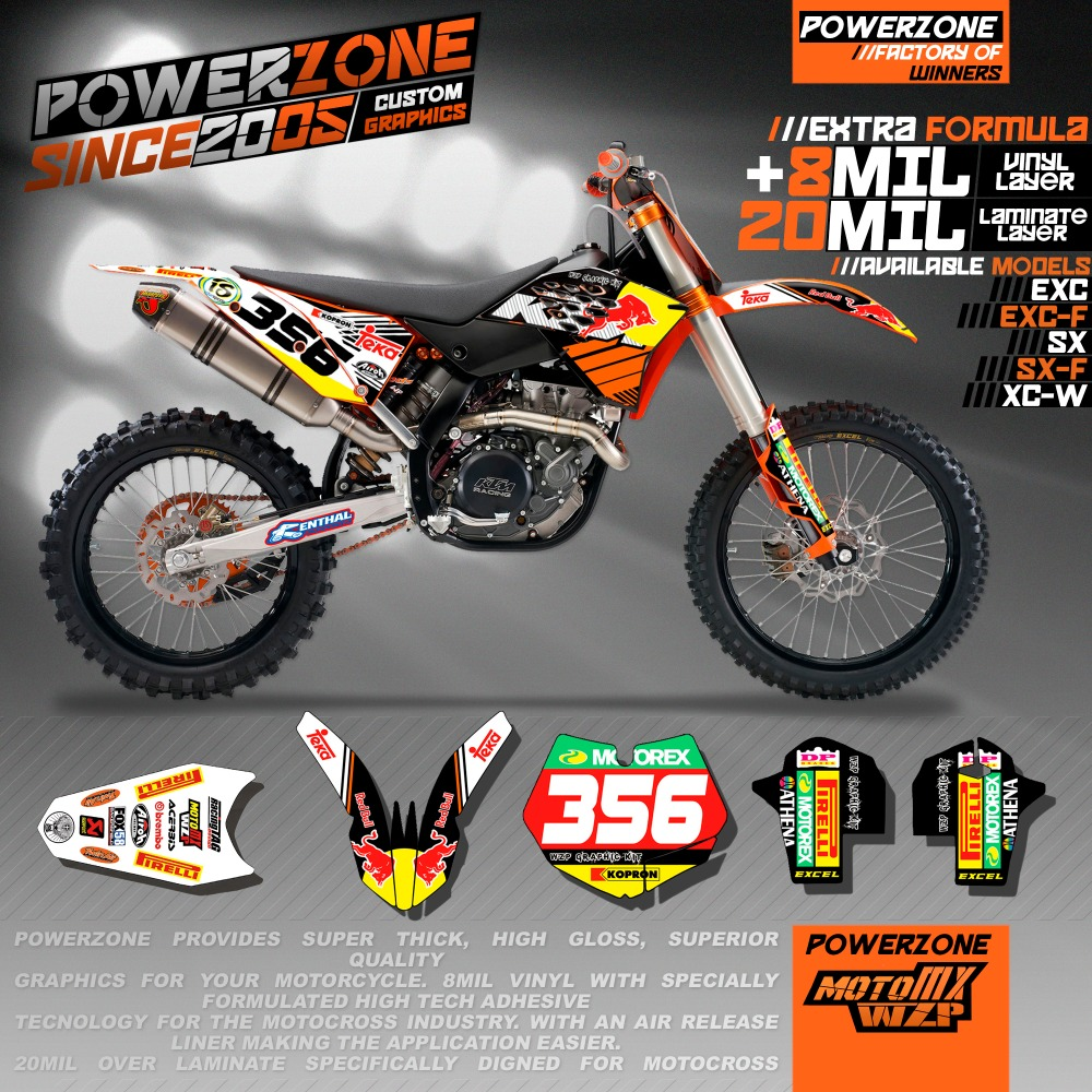 Customized Team Graphics & Backgrounds RB Custom Decals 3M Stickers Kits KTM SX SXF EXC XCW EXCF 125 150 250 300 450 530 - PowerZone Co.,Ltd store
