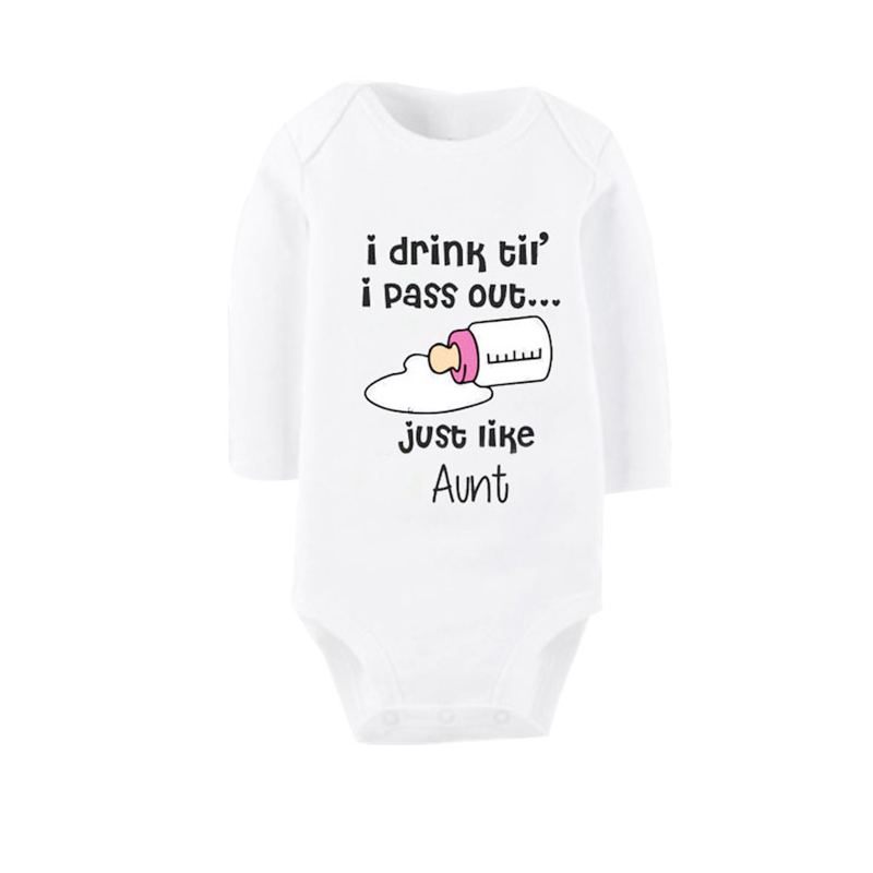 Culbutomind Αγαπώ τη θεία μου Άνοιξη Φθινόπωρο Με μακριά μανίκι Ρούχα χειμώνα Νεογέννητο θεία Ένδυση μωρών Ρούχα Baby Rompers Κορίτσια