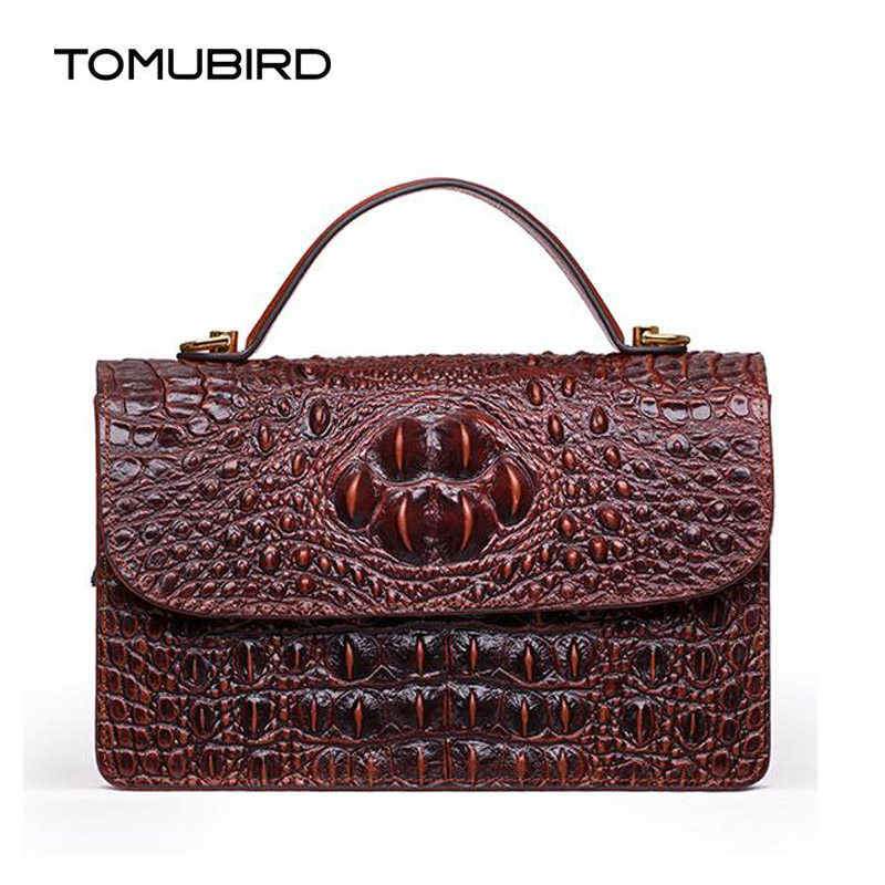 TOMUBIRD New women genuine leather bag brand Designers Crocodile Embossing cowhide leather women handbags shoulder bag deep dark brunette