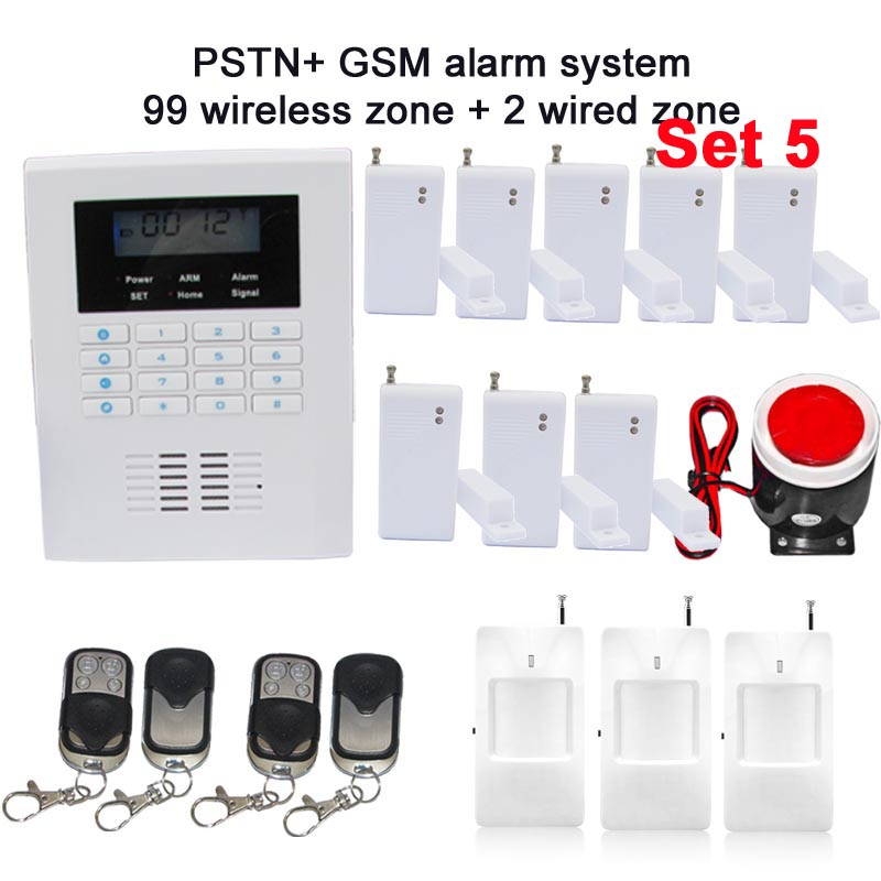 Free shipping GSM and PSTN dual network home alarm system  101 zone LCD dispaly  with 8 door sensor 3 PIR  Russian manual Supply dual network russian spanish french wireless gsm pstn alarm system home security alarm systems with lcd keyboard without battery