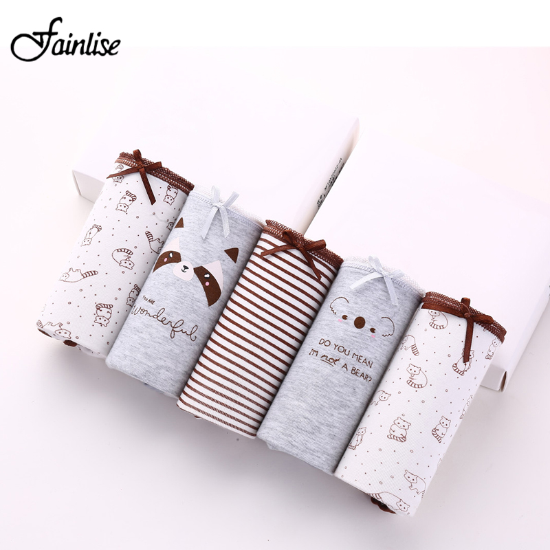 Fainlise 5Pcs/lot Sexy Cotton Women's Panties Printed Briefs Lovely Girls U..