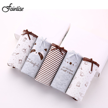 Fainlise 5Pcs/lot Sexy Cotton Women's Panties Printed Briefs Lovely Girls Underwear Wholesale Multicolor Lingerie Intimates