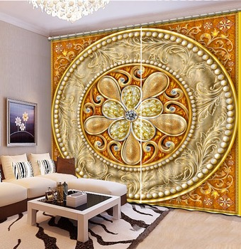 European style 3D Curtains Customize Jewelry pattern Window Curtain Living room Blackout Curtain
