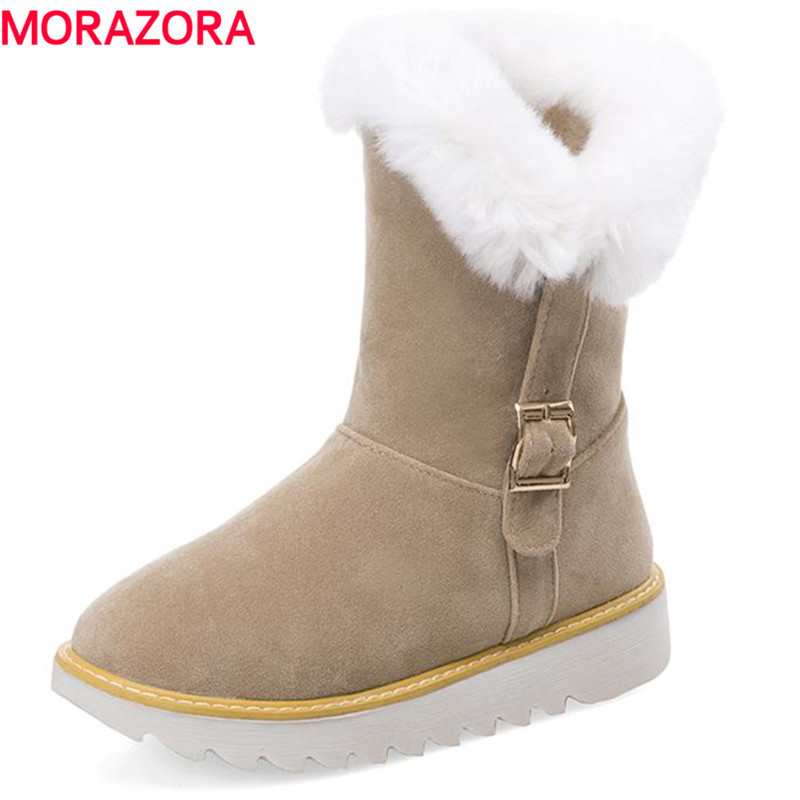 MORAZORA Winter ankle boots women shoes large size 34-43 solid flock buckle platform boots round toe keep warm snow boots flat with bow ankle boots shoes style women boots round toe platform snow boots for women fashion flock short outdoor shoes