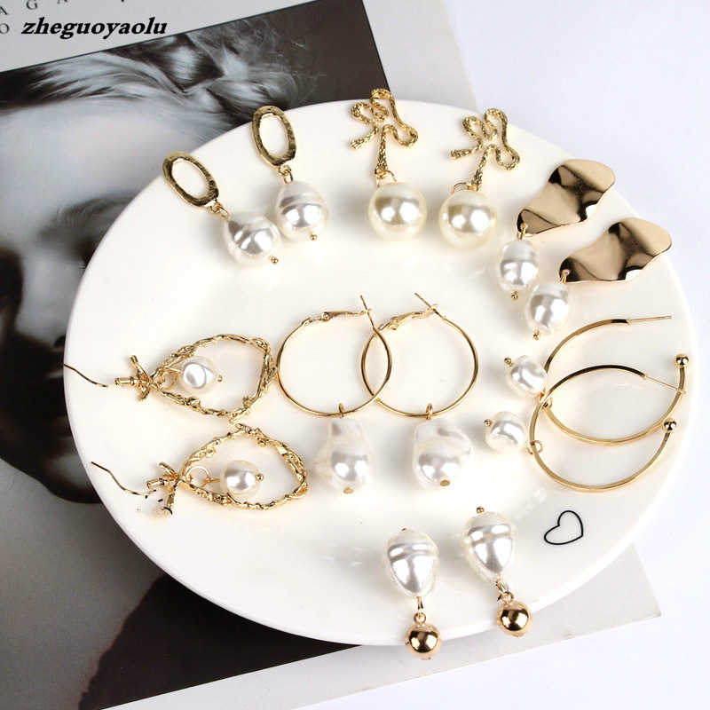 Creative Fashion Variety Of Pearl Earrings Europe And The United States Big Temperament Irregular Geometric Earrings Jewelry