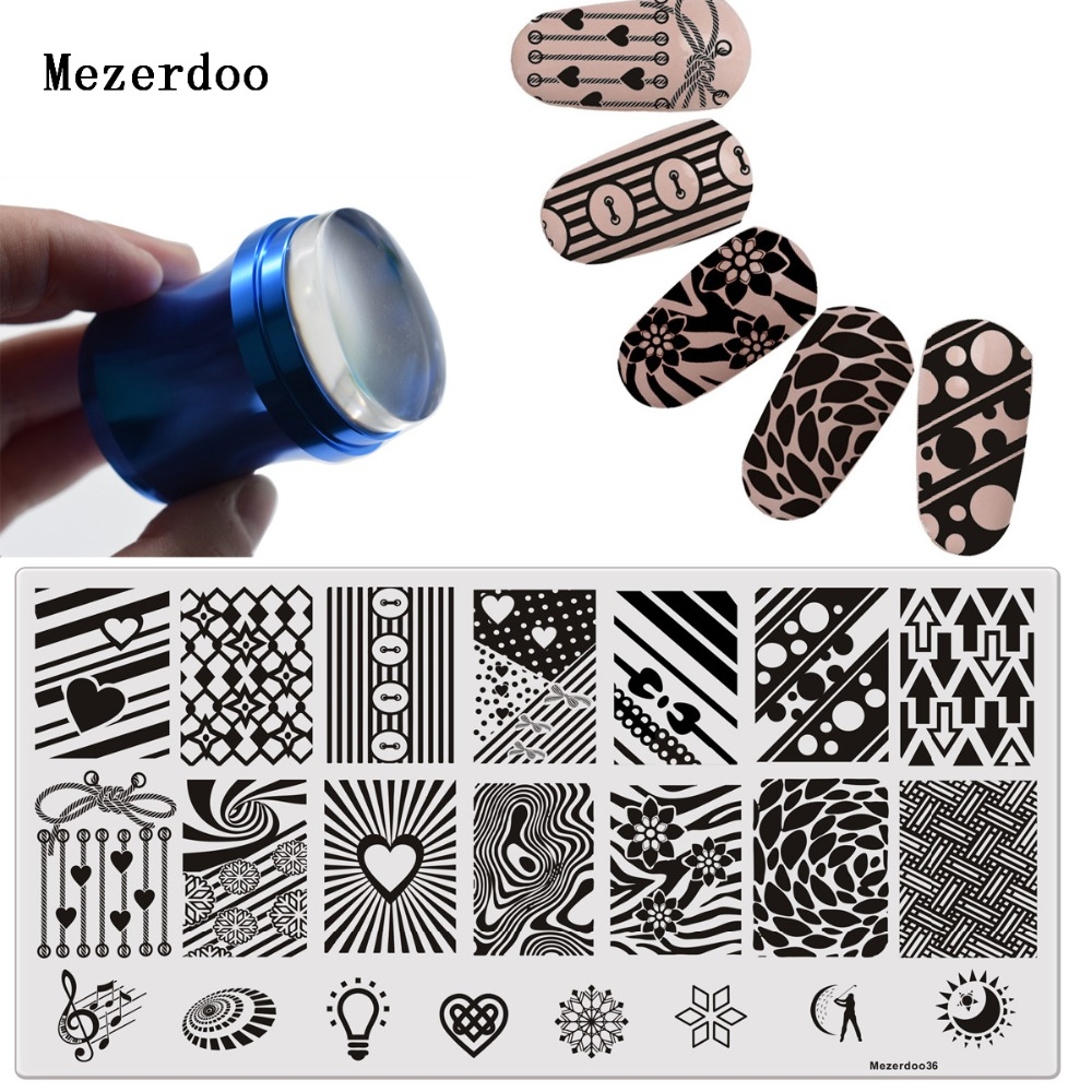 Bowknot Template Nail Art Template+1 DIY 3.8cm Love Rope Blue Metal Handle Bottle Shape Matte Nail Art Stamper Scraper Set W Cap