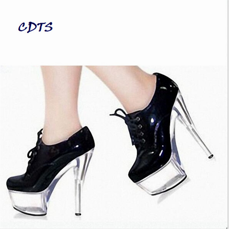 ФОТО big:35- 46 CDTS 2016 Newest Designer 17cm thin heels Crystal platform sexy Strap Patent Leather shoes woman bridal/wedding pumps