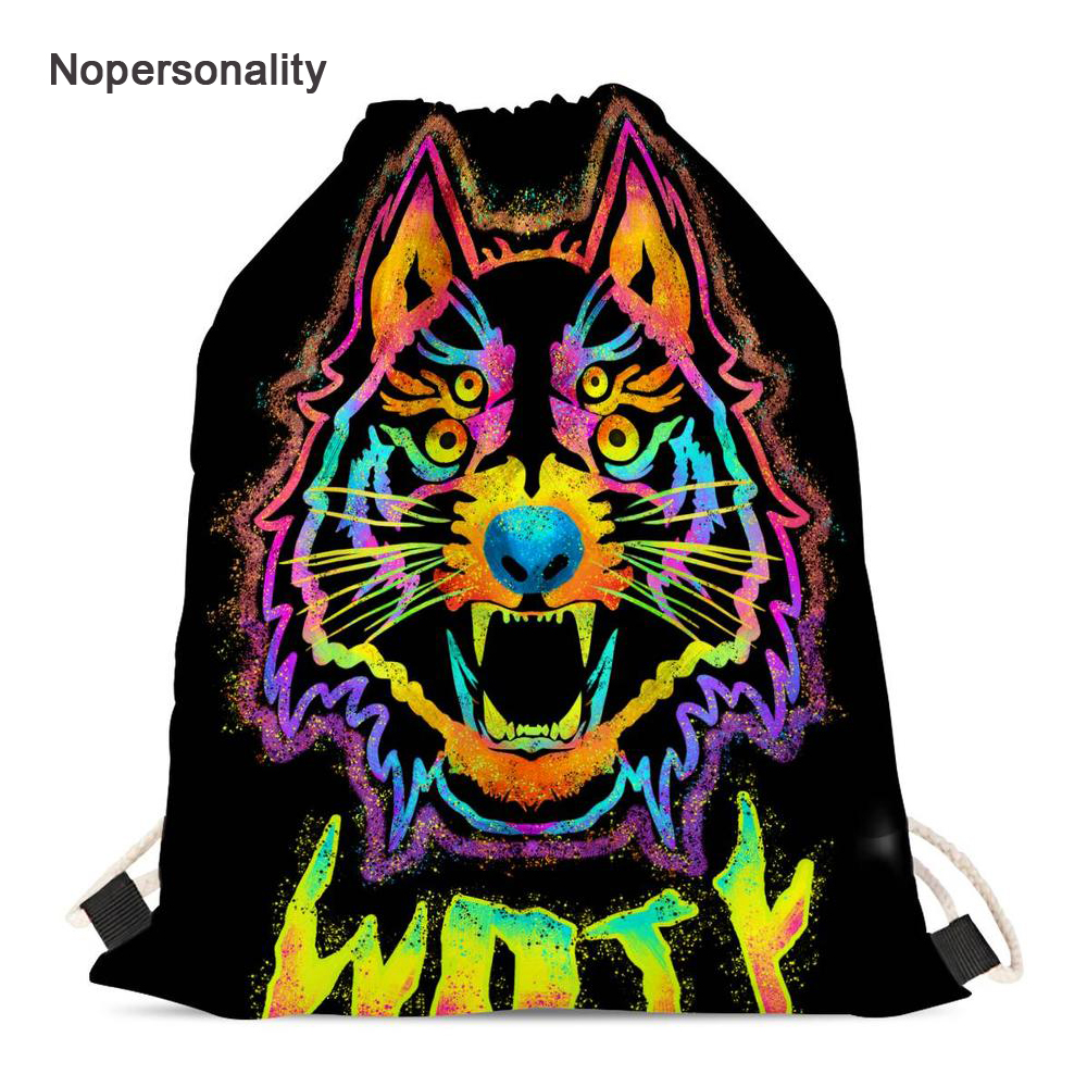Nopersonality Neon Animal Wolf Print Drawstring Bag for Men Women Casual Female Travel Backpack Small Storage