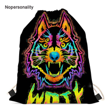 Nopersonality Neon Animal Wolf Print Drawstring Bag for Men Women Casual Female Travel Backpack Small Storage Package Mochila