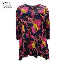 16e7201210e72 Yitonglian YTL Women Print Pattern Plus Size Dressy Tops Three Quarter  Sleeve Long