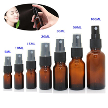 5-100ML  Portable Mini Perfume Bottle Beauty Empty Amber Glass Bottles Essential Oil Mist Spray Container Case