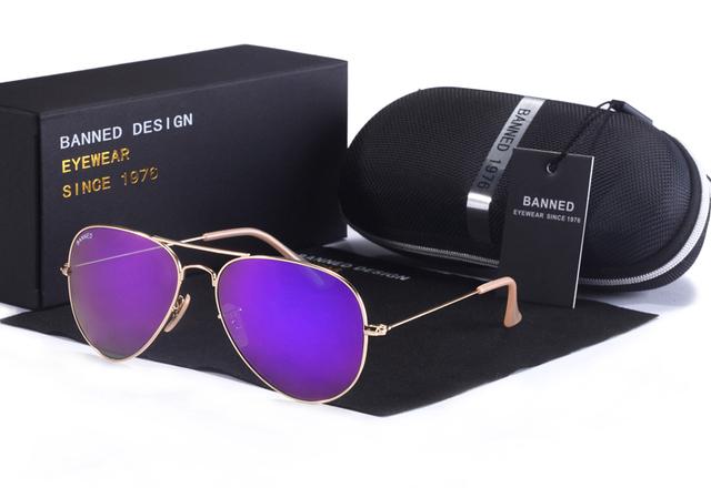 Top Quality G15 Mirror Glass Lens Design Women Men Aviation Vintage Sunglasses