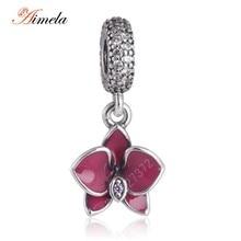 AIMELA 925 Sterling Silver Pink Orchid Esmalte Flor Colgante con AAA Zirconia Cúbico Para Las Mujeres Pulsera Joyería de DIY Que Hace