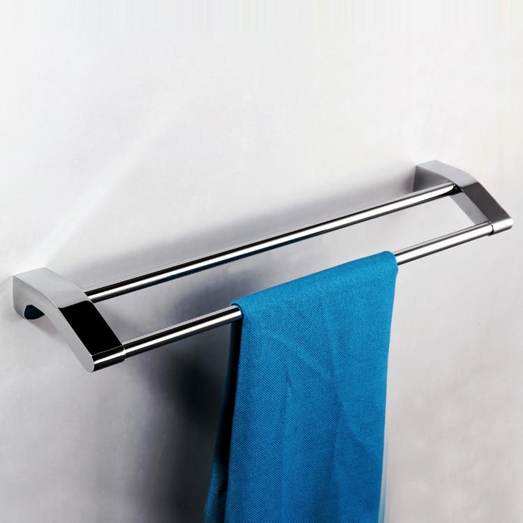 Mirror Polish Chrome Stainless Steel Towel Rack Holder Shelf Bathroom Double Layer Bar Accessorize 40 50 60CM Length