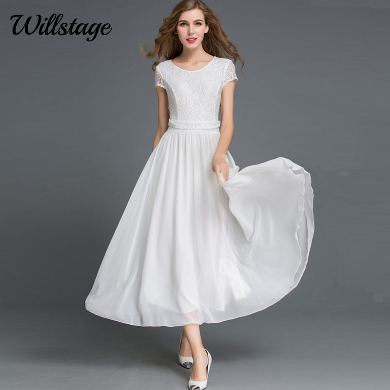 Willstage Chiffon Lace Dresses White Short Sleeve Maxi