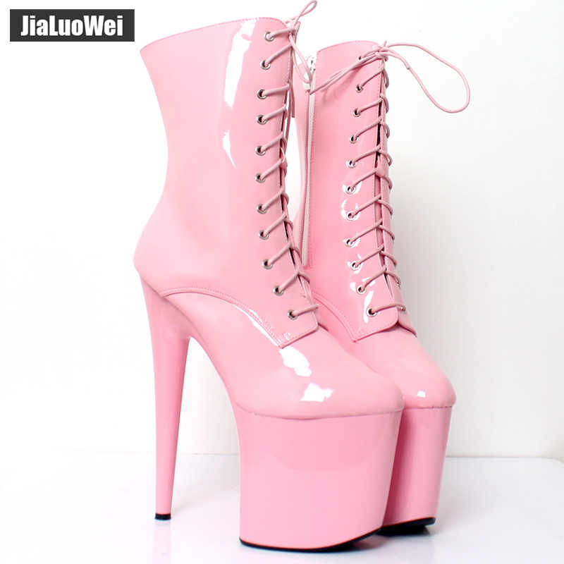 f9f4902ddb Detail Feedback Questions about jialuowei Hot Selling Ankle Boots 20CM  Extreme High Spike Heel Platform Round toe Lace up Zipper Pole Dance Club  Party Boots ...