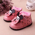 Menina quente Bebê Borboleta-nó Linda Inverno Quente Do Bebê botas de neve Fundo Macio Não-deslizamento de Moda rosa Vermelha Mickey Mouse Do Bebê Botas