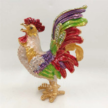 Bejeweled Rooster Chicken Statue Trinket Jewelry Box  Random Color SCJ736