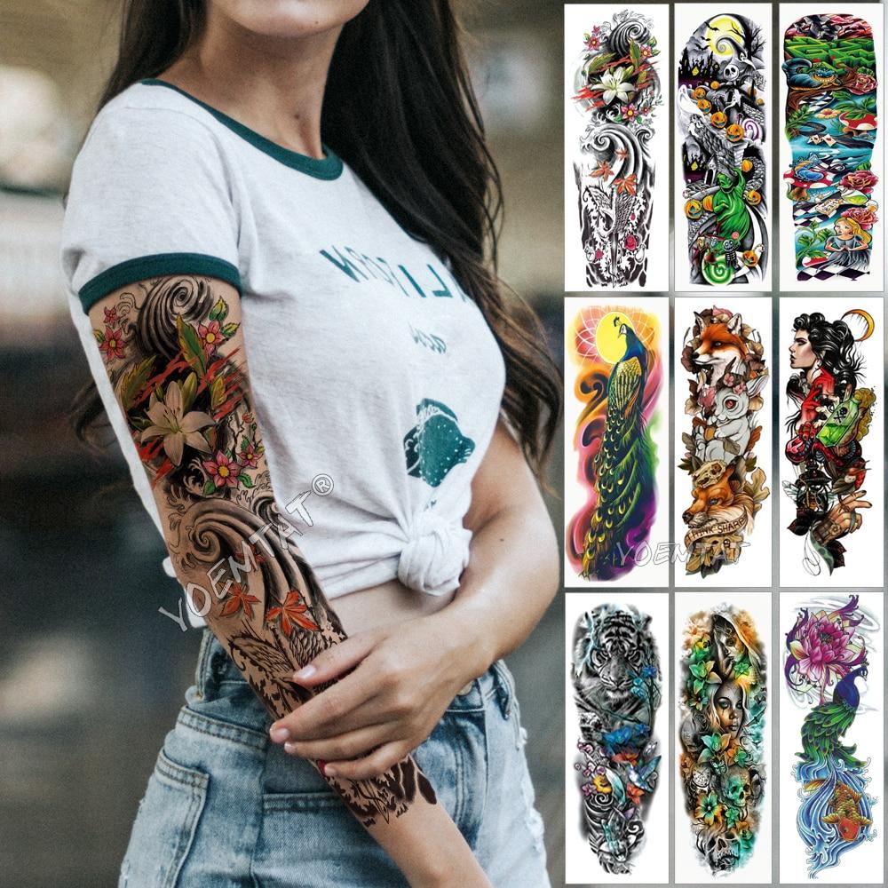 Large Arm Sleeve Tattoo Japanese Wave Waterproof Temporary Tattoo Sticker Lily Peacock Men Full Tiger Fox Tatoo Body Art Women