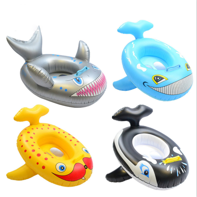 Baby Kids Seat Float Summer Outdoor Beach Pool Inflatable Cartoon Shark Whale Dolphin Swimming Seat Float Boat Water Fun Toys