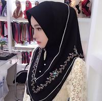 Muslim Woman Hijabs Scarf Muslim Headscarf Hijab Women Fashion Chiffon Embroidery Turban