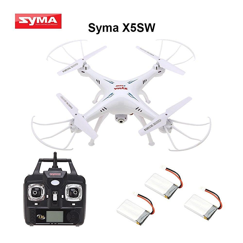 Quadrirotor télécommandé Syma X5SW/X5SW-1 4 canaux avec caméra HD pour la Transmission vidéo en temps réel, 31x31x10.5 cm