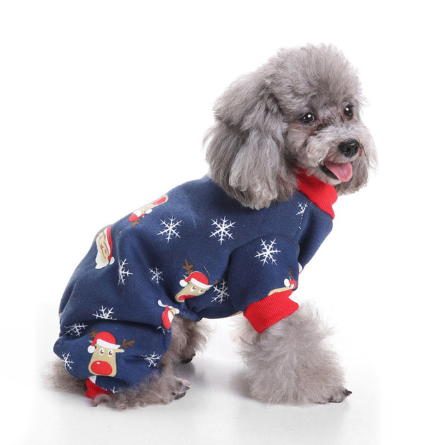 classic christmas santa thermal dog pajamas pjs pet clothes fleece puppy coat jumpsuit for small dogs