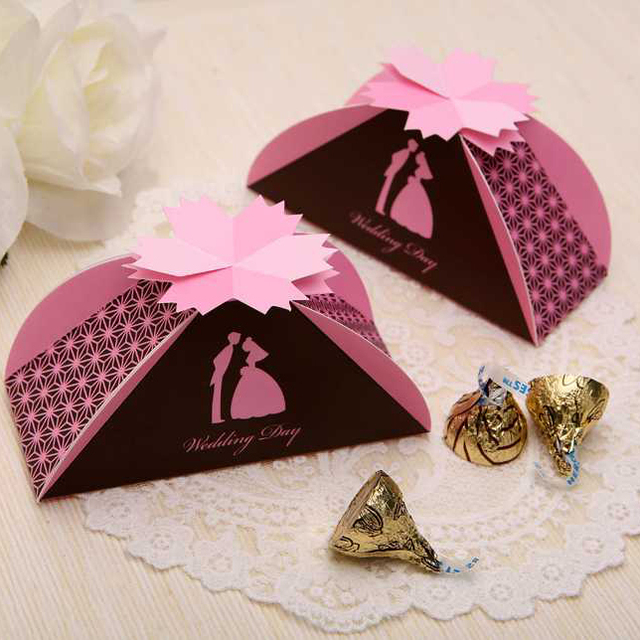 bride and groom wedding candy box pearl paper folding diy gifts