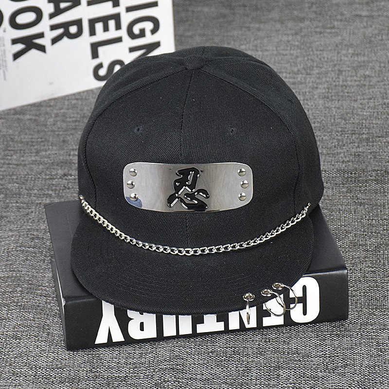 ... Summer Women Baseball Cap punk iron ring Flat Hiphop Mens Caps And Hats  Naruto cartoon hat ... b094354d61