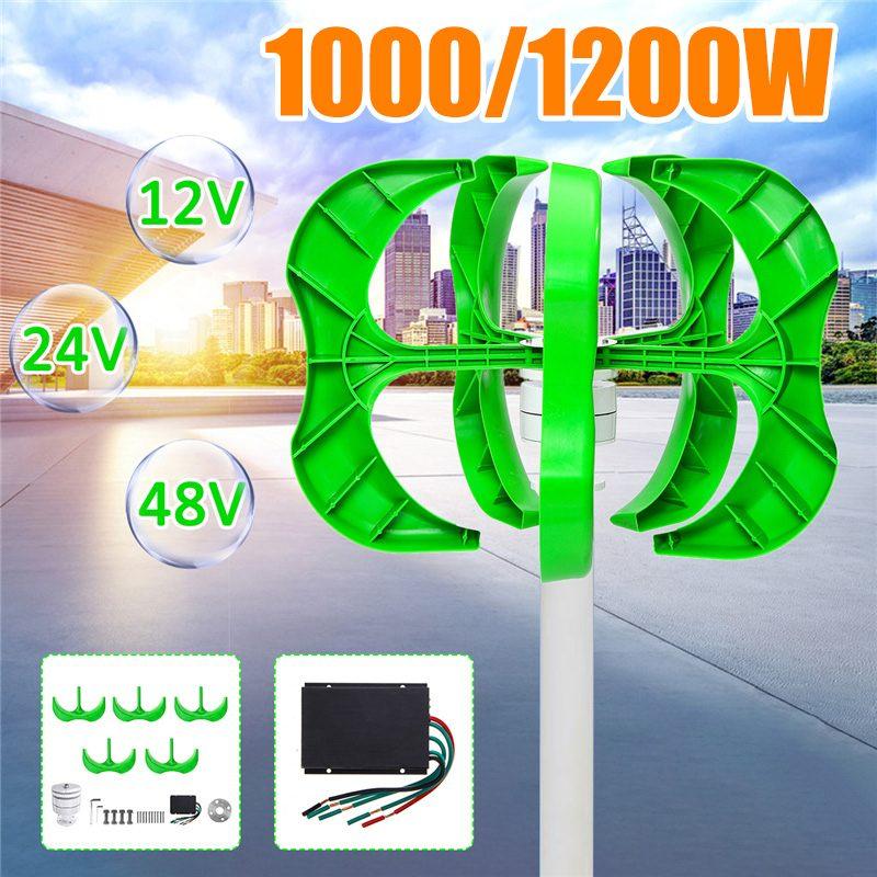 1200 W/1000 W Gerador de Energia Eólica Lâminas gerador 5 12/24 V/48 V turbina eólica Lanterna eixo Vertical Para + Controlador ветрогенератор