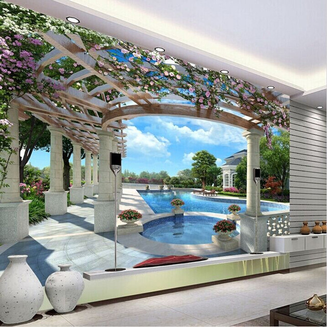 European Garden Space To Expand 3d Vision Wallpaper Mural TV Background  Wall Paper The Living Room