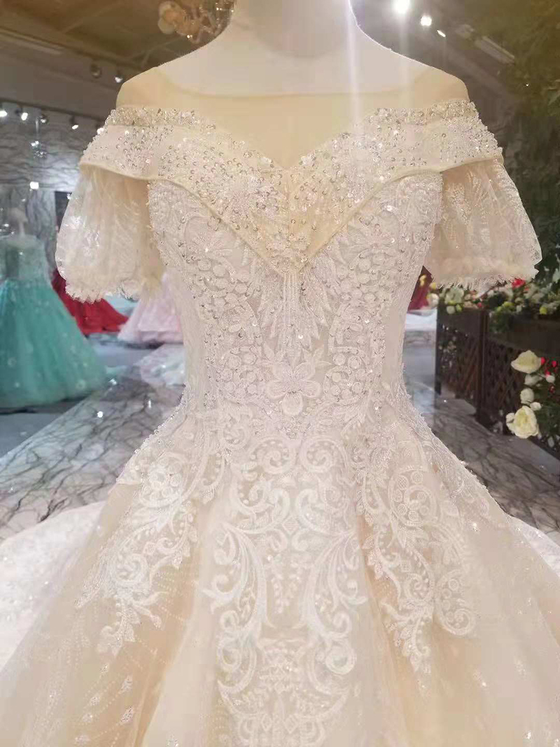 280d5ecec6c56 LS11015 princess sleeve wedding dresses champagne with bubble sleeves  detachable train wedding gown sexy v back 11.11 discount-in Wedding Dresses  from ...