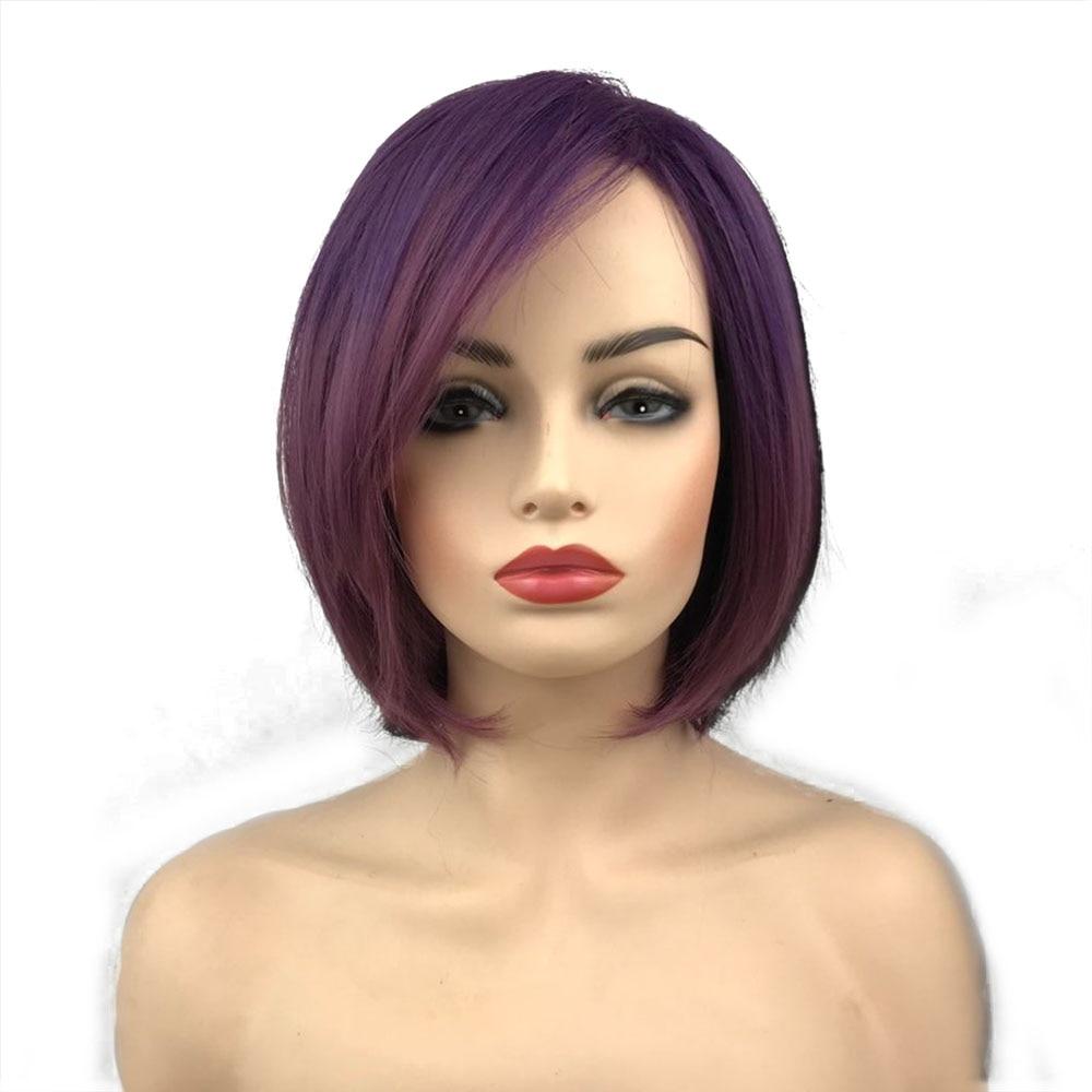 StrongBeauty Short Bob Wigs Purple Women Synthetic Wig Natural