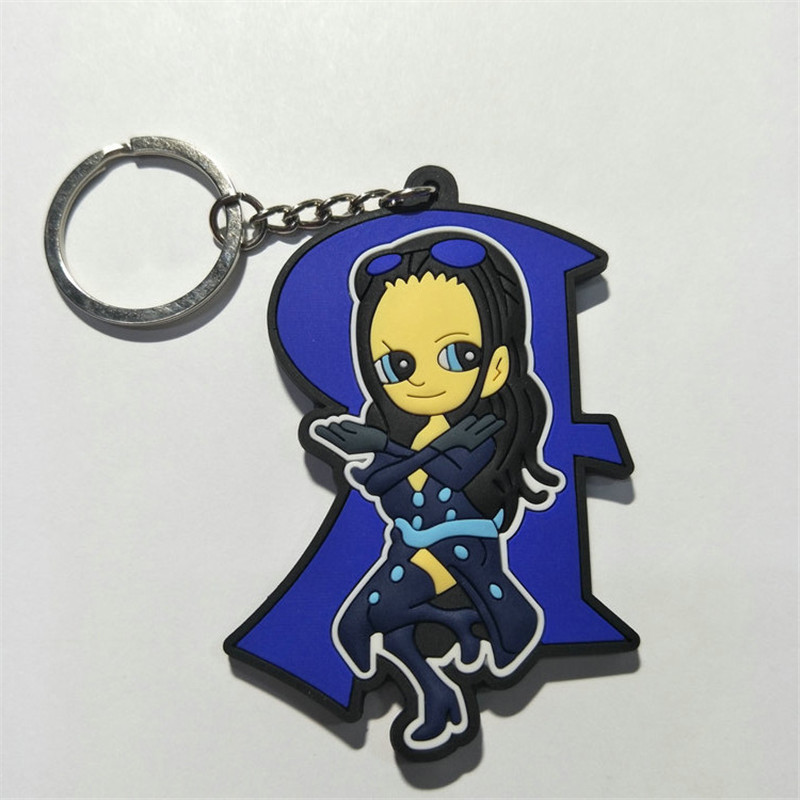 One Piece PVC Keychain Figures Toys Anime Cartoon Luffy Chopper Zoro Nico Nami  Sanji Key Bag Pendants Keyring Dolls 10pcslot (8)