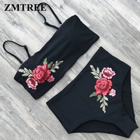ZMTREE Swimsuit Embroidered Bikini High Waist Swimwear Bikini Set Top Bra Bathing Suit Summer Beach Wear