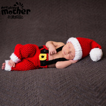 Children's Clothing Photography Christmas Theme Costume Red Wool Christmas Outfit Christmas Baby Gift Baby Photography Props