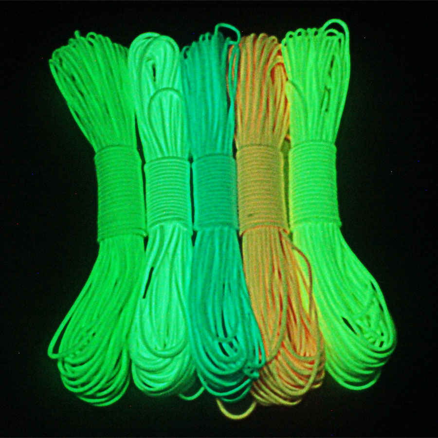 Paracord 550lb 9 Strand 5 warna Glow Dalam Dark Paracord 100feet 4mm 550 paracord